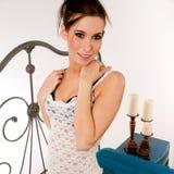 Bedroom Portrait Interesting Pretty Woman Wrought Iron Headboard Stock Image