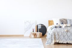 Bedroom with posters royalty free stock photo