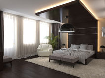 Bedroom in a private house in brown and beige colors Stock Images
