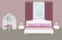 Bedroom in a purple color. There is a dressing table, a bed with pillows, bedside tables, lamps and other objects on a window background in the picture. Vector royalty free illustration