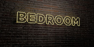 BEDROOM -Realistic Neon Sign on Brick Wall background - 3D rendered royalty free stock image Royalty Free Stock Image