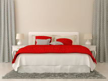 Bedroom with red and grey decorations Stock Photo