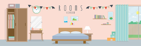 Bedroom (Rooms). Vector illustration of a bedroom stock illustration