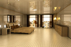 Bedroom in Sao Paulo. A Bedroom with view on Sao Paulo, Brazil. 3D rendered Illustration Royalty Free Stock Photos