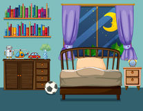 Bedroom scene with books and toys. Illustration Royalty Free Stock Images