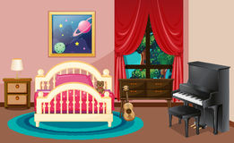 Bedroom scene with piano and bed. Illustration Royalty Free Stock Photo