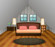 Bedroom scene with wooden floor Royalty Free Stock Photos