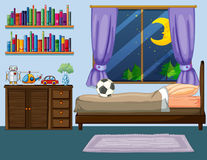 Bedroom scene with wooden furniture. Illustration Royalty Free Stock Images