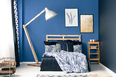 Bedroom in shades of blue Royalty Free Stock Image