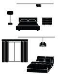 Bedroom. A simple illustration of a bedroom on a white background Royalty Free Stock Images