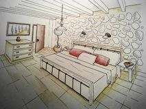 Bedroom sketch 3D perspective royalty free illustration