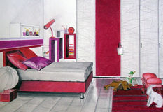 Bedroom sketch red Royalty Free Stock Image