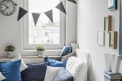 Bedroom with small window Stock Photos