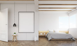 Bedroom with sofa and framed poster. Above the bed. Concept of minimalism in room decoration. 3d rendering. Mock up Stock Photography
