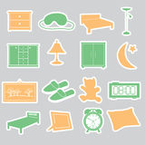 Bedroom stickers set Stock Photos