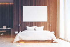 Bedroom with study area, toned, front view Royalty Free Stock Image