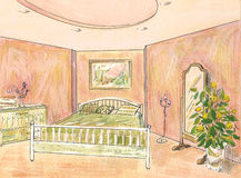 Bedroom suite. This is sketch of interior, bedroom suite. Gouache painting stock illustration