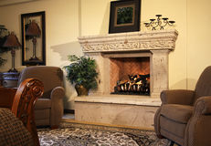 Bedroom suite fireplace Stock Photo