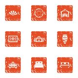 Bedroom suite icons set, grunge style. Bedroom suite icons set. Grunge set of 9 bedroom suite vector icons for web isolated on white background Stock Image