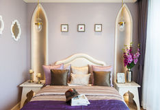 Bedroom suite with purple color Royalty Free Stock Photo