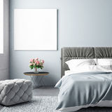 Bedroom summer season with mock up poster. 3d illustration Stock Photography