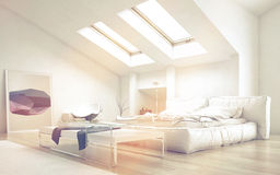 Bedroom with Table Illuminated with Sunlight. Close up Architectural Bedroom with Glass Table and White Furniture Illuminated with Sunlight from Glass Ceiling Stock Photography