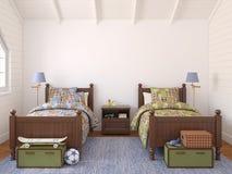 Bedroom for two children. Interior of bedroom for two children. 3d render Stock Image
