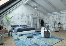 Bedroom with vaulted ceiling and crumpled carpet Royalty Free Stock Photo