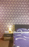 Bedroom with wallpaper Royalty Free Stock Photo