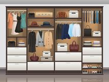 Wardrobe Storage Interior Realistic. Bedroom wardrobe closet storage with interior organizers shoe racks and hanging rails for clothes realistic vector Stock Photography