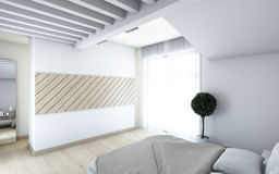 Bedroom in white Stock Image