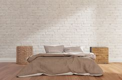 Bedroom with white brick wall, wooden floor, cabinet,lamp,mock up royalty free illustration