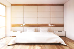 Bedroom with white wall, toned Royalty Free Stock Photography