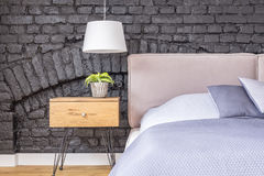 Free Bedroom With Wooden Bedside Cabinet Royalty Free Stock Photos - 98767708