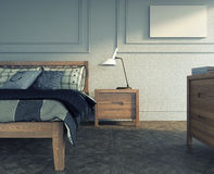 Bedroom in wood Royalty Free Stock Photo