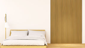 Bedroom wood decoration clean design - 3D Rendering. For artwork and background Royalty Free Stock Image