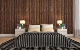 Bedroom with wood trim. 3d illustration Royalty Free Stock Photo
