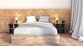 Bedroom with wood trim Stock Photography