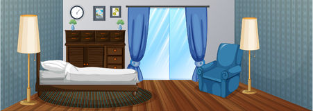 Bedroom with wooden furniture and blue armchair. Illustration Royalty Free Stock Image