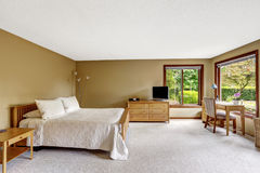 Bedroom with wooden furniture set Stock Photos