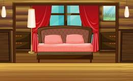Bedroom in wooden house stock illustration