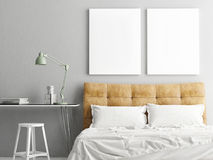 Bedroom with workplace and two mock up posters,. 3d illustration Stock Photo