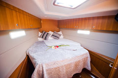 Bedroom in yacht. Bedroom inside a luxury yacht Stock Images