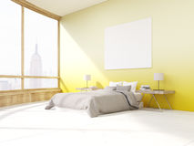 Bedroom with yellow walls in New York Stock Photos