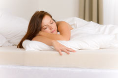 Bedroom - young woman sleeping Stock Photo