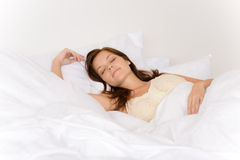 Bedroom - young woman sleeping Royalty Free Stock Images