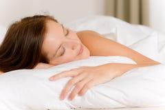 Bedroom - young woman sleeping Stock Photo
