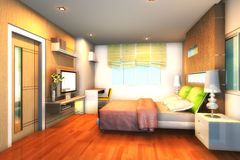 Bedroom1 Modern with 3D Royalty Free Stock Photos