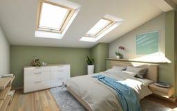Bedroomin στον αττικό Στοκ φωτογραφία με δικαίωμα ελεύθερης χρήσης