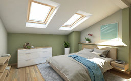 Bedroomin  On The Attic Royalty Free Stock Photography